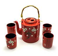 Чайный сервиз на 4 персоны красный керамика