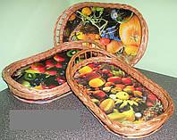Плетеные подносы набор из 3 шт, фото 1