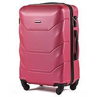 Средний пластиковый чемодан Wings 147 на 4 колесах розовый, фото 1