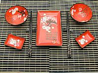 """Сервиз для суши """"Красный с цветами сакуры"""" на 2 персоны керамика"""