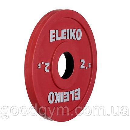Олимпийский диск Eleiko для соревнований и тренировок 2,5 кг цветной 124-0025R, фото 2