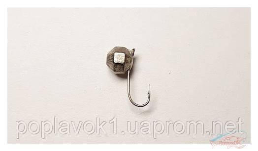 Мормышка вольф. Шар граненый с петелькой (серебро) 5мм 1,47г.