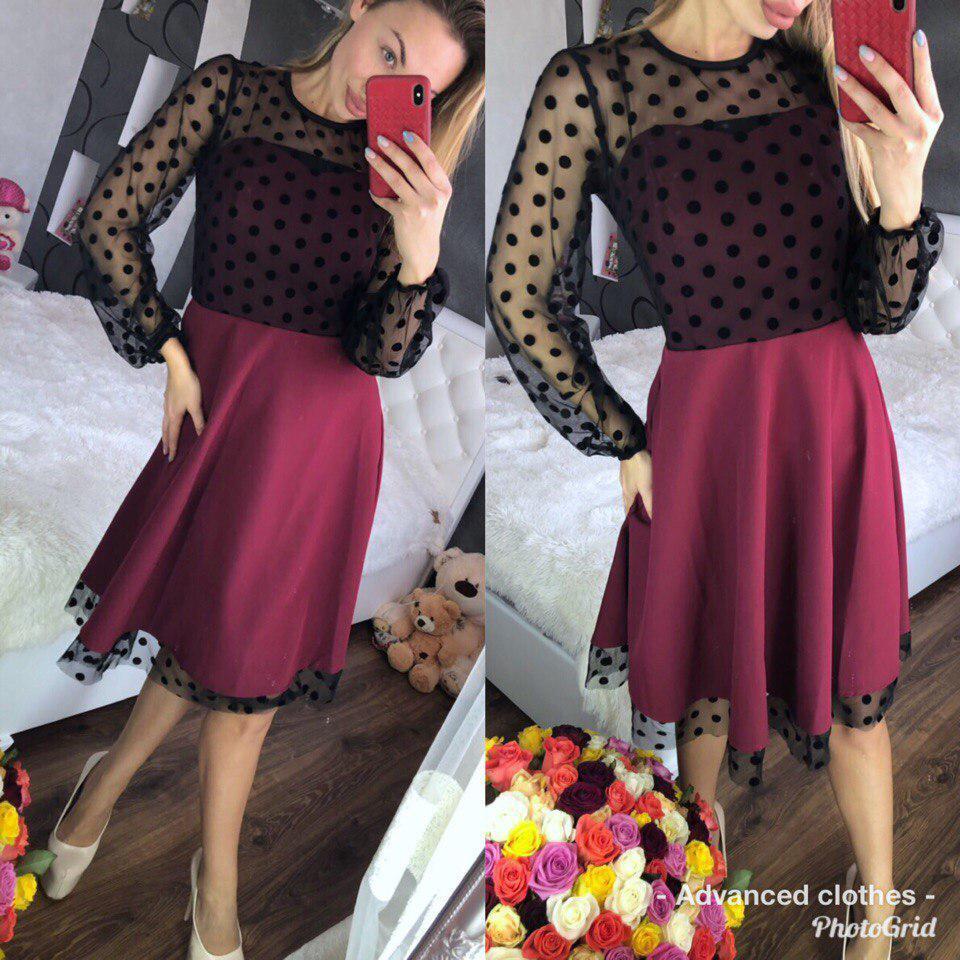 e3e0cef4547 Женское нарядное платье с пышной юбкой. Цвет бордо. - M K FASHION в Харькове