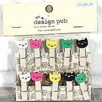 Декоративные прищепки Коты разноцветные  для украшения фотографий, открыток, изделий Hand-made  10 штук
