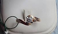 Нежное Золотое кольцо с белым фианитом, фото 1
