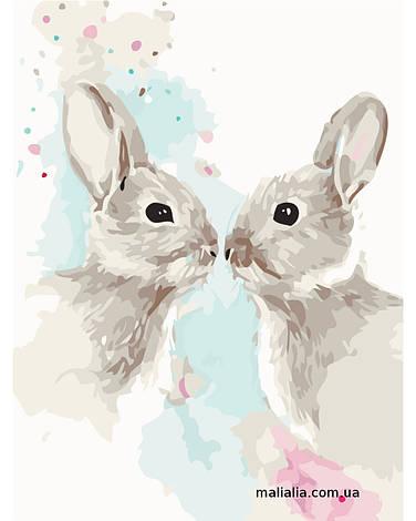 Картины по номерам 30*40 см БЕЗ КОРОБКИ Цветные кролики Artstory