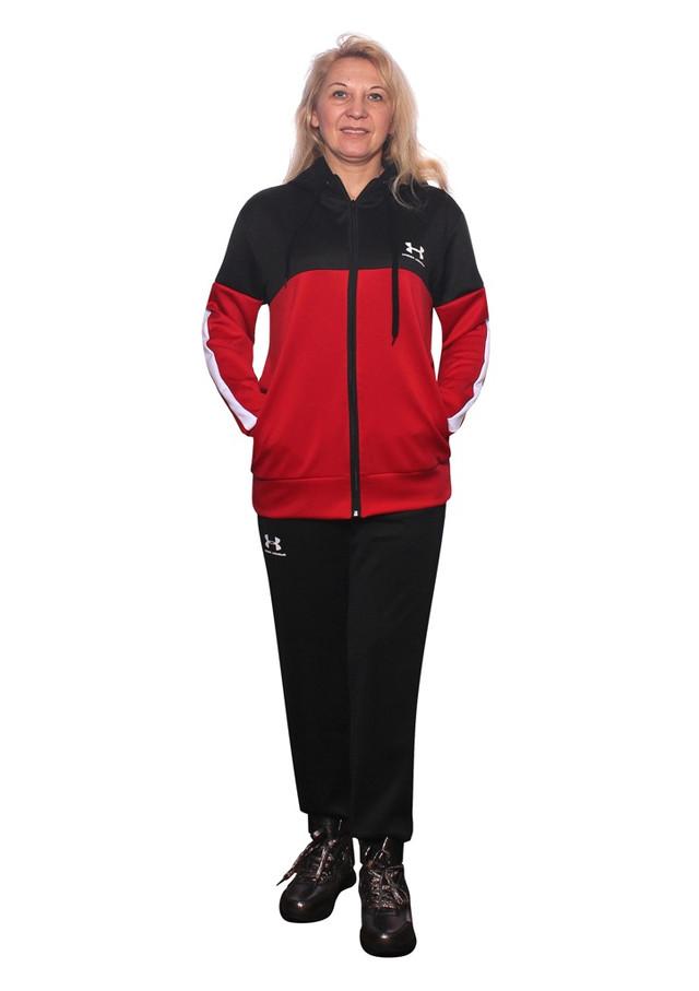 черно-красный костюм для спорта с белыми лампасами