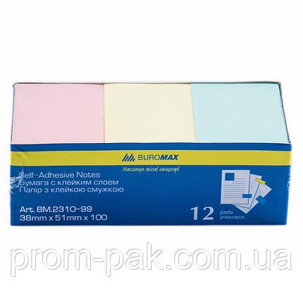 Клейкая бумага для заметок  38*51 100 л.  Buromax ВМ.2310-99, фото 2