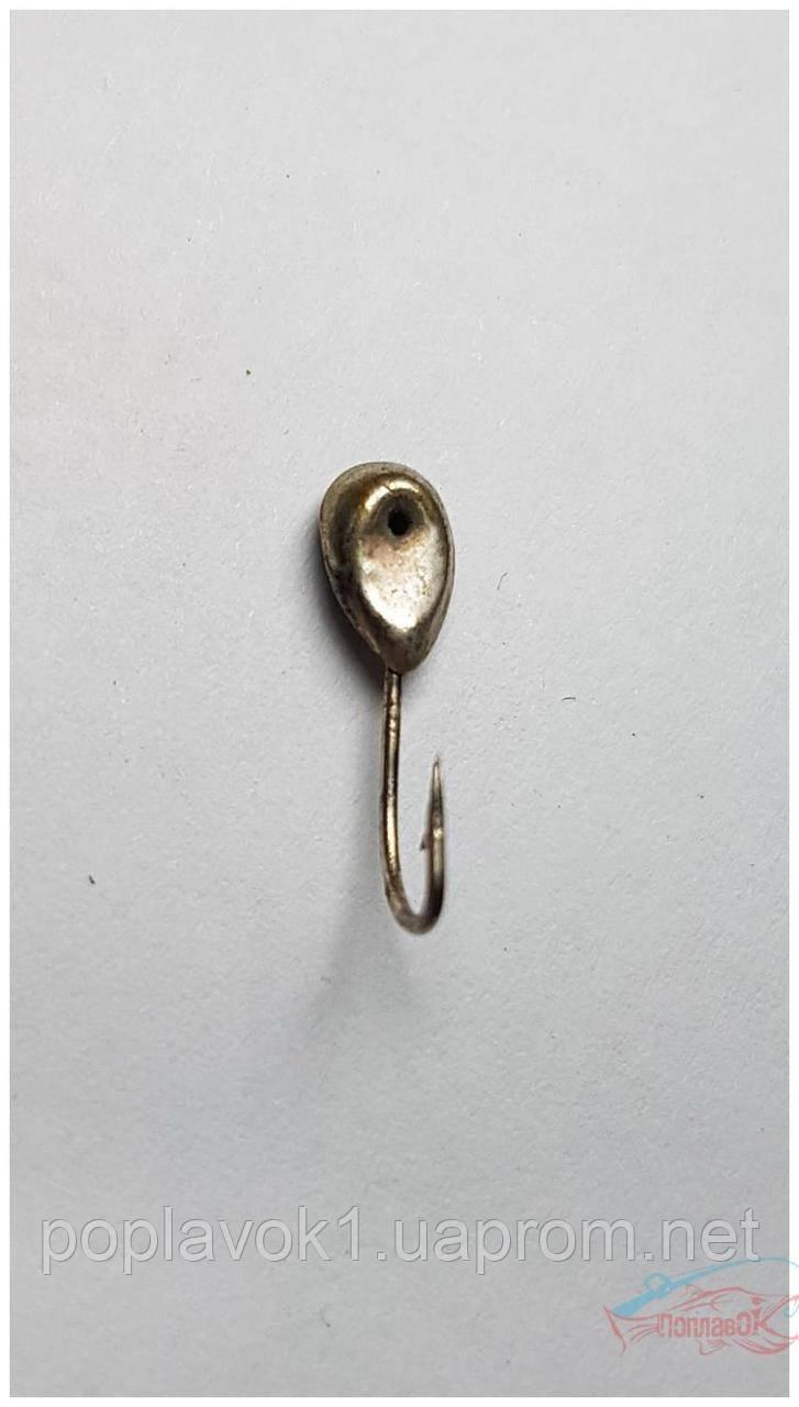 """Серебряная мормышка """"капля с мятинкой"""" 0,36г 4мм"""