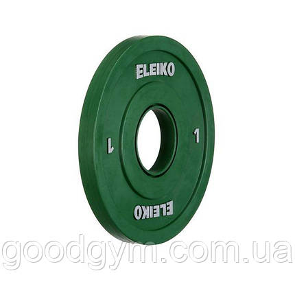 Олимпийский диск Eleiko для соревнований по тяжелой атлетике 1 кг цветной 121-0010F, фото 2