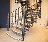 Кованые маршевые и винтовые лестницы с перилами