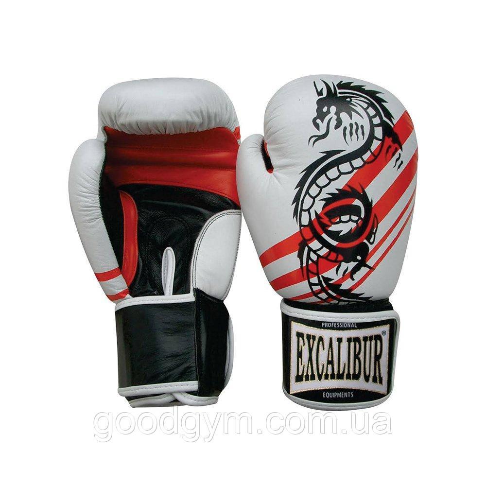 Перчатки боксерские Excalibur 542 Dragon (10 oz) белый/красный