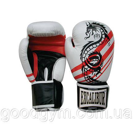 Перчатки боксерские Excalibur 542 Dragon (10 oz) белый/красный, фото 2