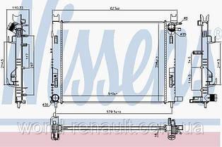 Радиатор системы охлаждения на Рено Доккер 1.5dci, 1.6i 8V, 1.2i 16V / NISSENS 637627