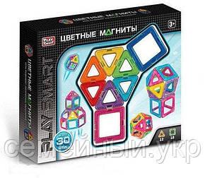 """Магнитный конструктор Play Smart 2427 """"Цветные магниты"""", 30 деталей, фото 2"""