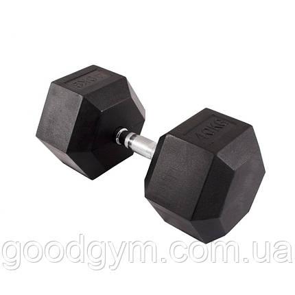 Гантель гексагональная обрезиненная InterAtletika 40 кг PD-108-40, фото 2