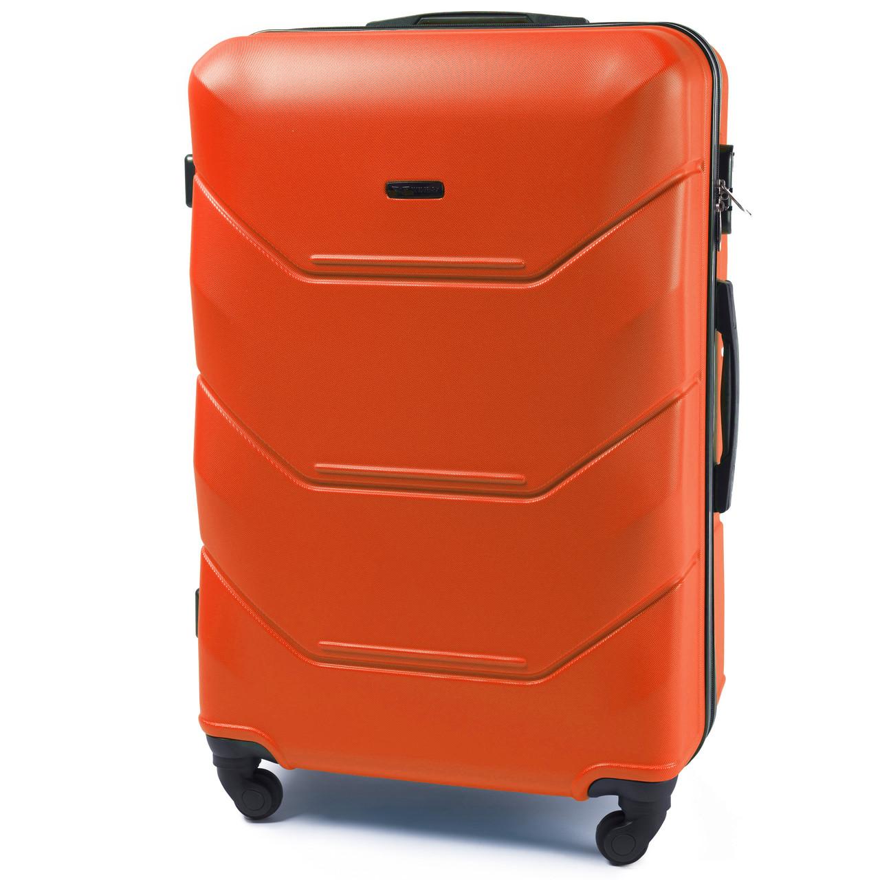 Малый пластиковый чемодан Wings 147 на 4 колесах оранжевый