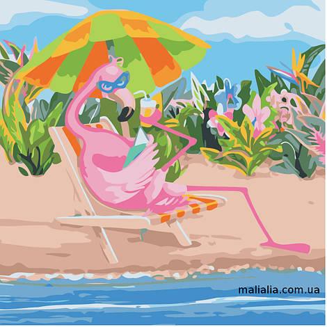 Картины по номерам 40*40 см БЕЗ КОРОБКИ Фламинго на отдыхе Artstory