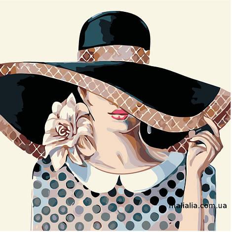 Картины по номерам 40*40 см БЕЗ КОРОБКИ Дама в шляпе Artstory