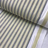 Льон рушникові з оливковою і сірою смужкою, ширина 50 см, фото 1