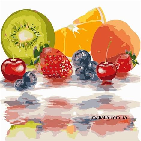 Картины по номерам 40*40 см БЕЗ КОРОБКИ Яркие фрукты Artstory
