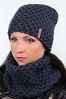 Стильный женский комплект - шапка на флисе и шарф хомут Milan 18088k джинс