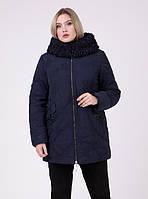 Теплая зимняя женская красивая куртка большого размера темно-синего цвета (50, 56)