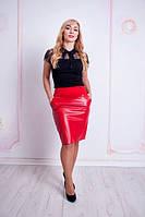 Спідниця з еко-шкіри червоного кольору, фото 1