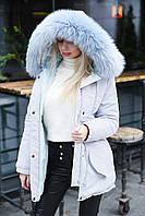 """Женская куртка """"парка"""" на меху с искусственным отстегивающимся мехом на кпюшоне"""