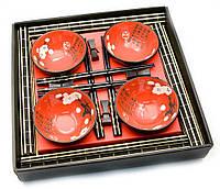 Сервиз для лапши Красный с цветами сакуры на 4 персоны керамика