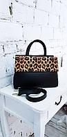 Сумка черная с леопардовым клапаном АРТ. 01047, фото 1
