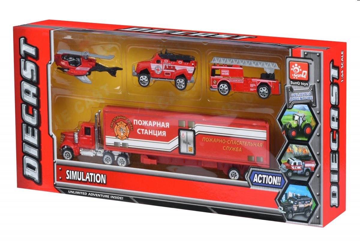 Same Toy Набор машинок Diecast Грузовик с пожарными