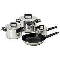 SNITSIG Набір каструль + сковорідка,  4 шт, нержавіюча сталь
