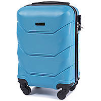 Микро пластиковый чемодан Wings 147 на 4 колесах голубой
