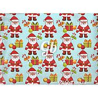 """Новогодняя бумага для упаковки подарков «Санта Клаус и подарки"""" 10шт"""