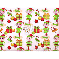Новогодняя бумага для упаковки подарков «Эльфы Санты Клауса» 10шт