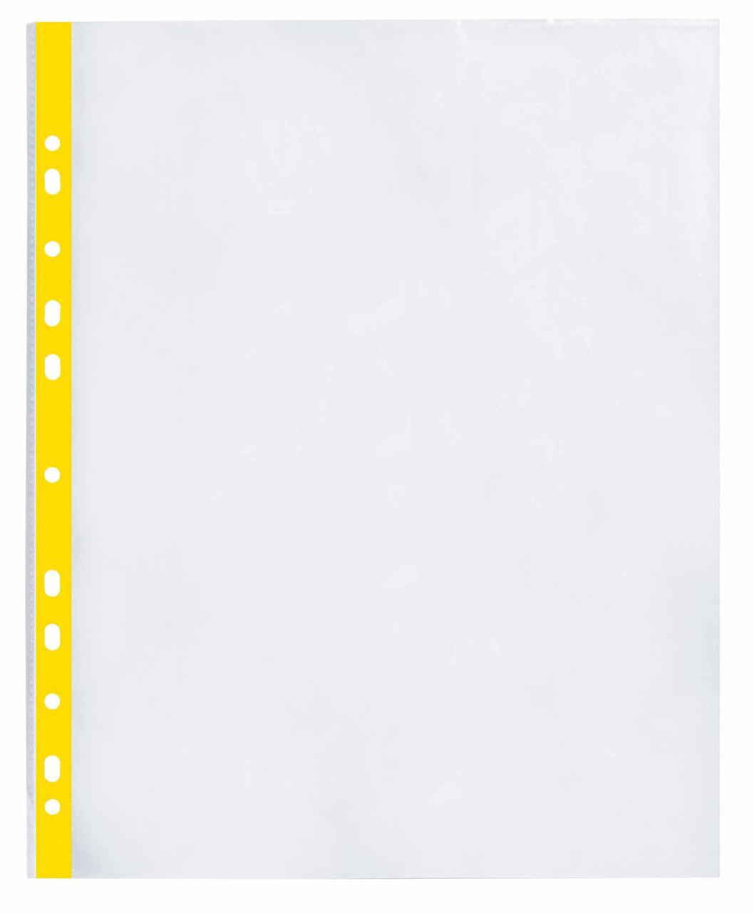 """Файл для документів А4 + Optima, 40 мкм, фактура """"глянець"""", з жовтою стрічкою (20 шт / уп)"""