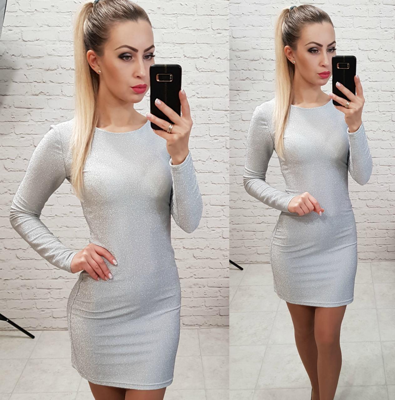 Платье люрекс, арт 141, серебро