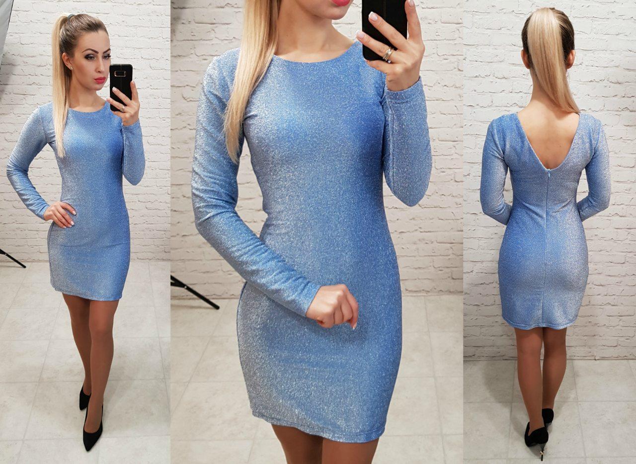 Платье из люрекса, арт 141, голубой
