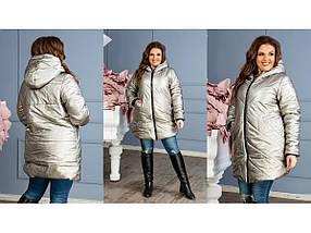 Женская куртка-пальто из плащевки 2114 / размер 48-50, 52-54 / цвет темное серебро