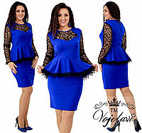 584d2945c91 Женское платье с баской отделка кружева и флок на сетке с напылением  блёсточек