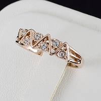 Обольстительное кольцо с кристаллами Swarovski в позолоте 0362