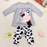 Девочки корова комплектов одежды верхней рубашки брюки наряд 1TopShop