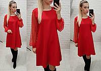 Платье свободного кроя,рукав сетка, арт 144,ткань креп, цвет красный