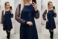 Платье люрекс, арт 144,ткань креп, цвет темно синий, фото 1