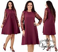 2c97cf76693 Женское платье свободного кроя рукава с отделкой флок на сетке с напылением  блёсточек 48