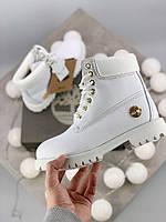 Женские зимние ботинки Timberland 6 Inch Premium white gold МЕХ (MADE IN USA )
