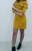 Платье нарядное горчичное с кружевом рукав три четверти
