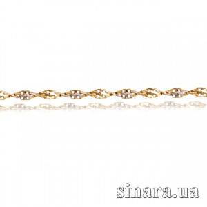 Золотая цепочка Ребекка с алмазной насечкой из красного и белого золота 18172