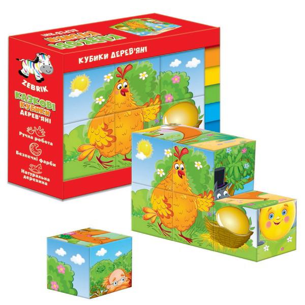 Деревянные кубики Vladi Toys Курочка Ряба Колобок (Укр) (ZB1002-01)